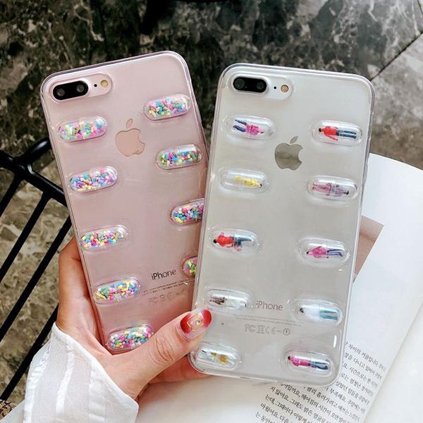 designer fashion ffb71 419ad 3D Cute Capsule Pills Person Phone Case For iPhone X 6 6S 7 8 Plus  Transparent Soft TPU Back Cover Cases Coque