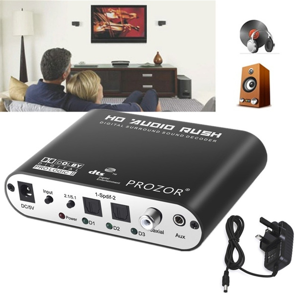 Digital Dolby DTS AC3 Optical to Analog 5.1 Stereo Surround Audio Decoder SPDIF