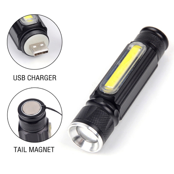 Portable Zoomable 3800LM CREE XML-T6 COB LED USB Rechargeable Flashlight  Torch