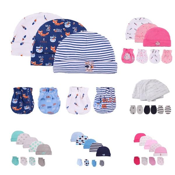 071d4726b 2018 Kiddiezoom Baby cute Hat Mittens Newborn 100%Cotton baby set infant  0-6 Months bebe accessories