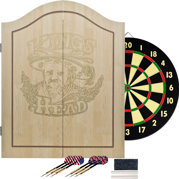 King S Head Dartboard Cabinet And Beginners Double Sided Dart