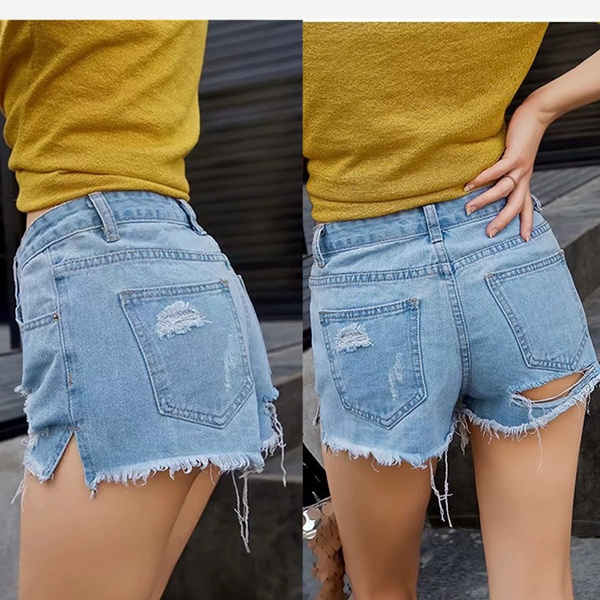 Wish | Hot Women's Ass Broken Hole Exposed Buttocks Jeans Shorts 2018  Europe and The United States Ladies Sexy Short Jeans