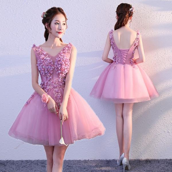 Para Quinceañera Violeta Vestidos De 15 Años Corto Con Flores Vestidos De Fiesta Prom Eveing Prom Dresses Party Dress Graduation Dress