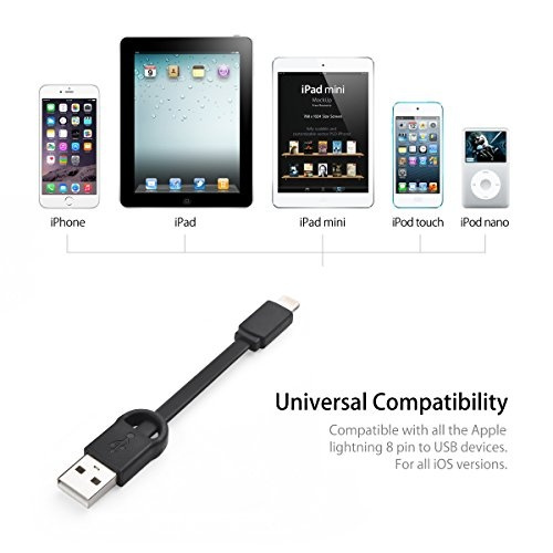 Short 8pin Black USB 2 Sync Cable for iPhone 5 6  iPod Touch iPad Mini