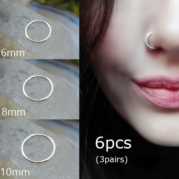 3pairs 6mm 8mm 10mm Stainless Steel Nose Hoop Nose Rings Fake