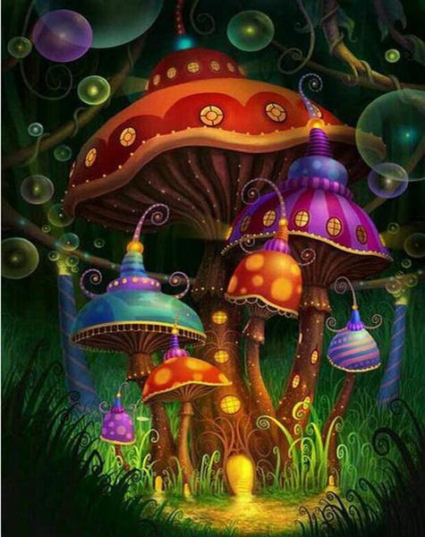 fairy, DIAMOND, Mushroom, Colorful