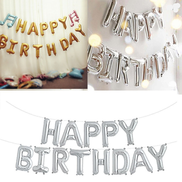 2 XSelf Inflating Happy Birthday Banner Balloon Bunting Silver 16 inch Letters Foil