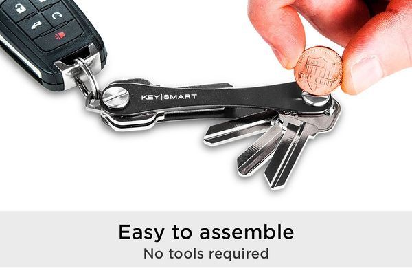 KeySmart Classic Compact Key Holder and Keychain Organizer up to 14 Keys, Red
