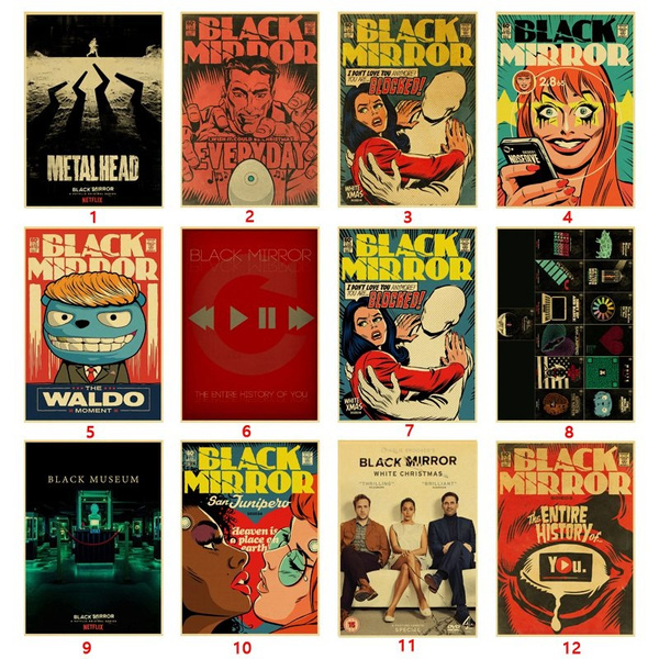 White Christmas Black Mirror Poster.Science Fiction Tv Black Mirror Vintage Retro Poster Painting Home Room Decor Kraft Paper Wall Stickers