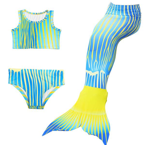 efe024d75f40 3 pezzi / set bambini ragazze sirena coda di nuoto costume da bagno estate  vestito da nuotata cosplay code a sirena costumi da bagno per le ragazze    Wish