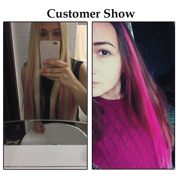 Wish 7 Pcs Multi Colors Hairpiece Straight Hair Extensions Hair