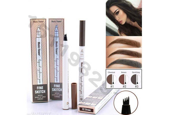 Music Flower Eyebrow Pencil Waterproof Fork tip Eyebrow Tattoo Pen 4 Head Fine Sketch Liquid Henna Eyebrow Enhancer Dye Tint Pen