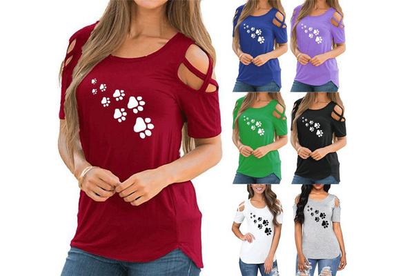 New Women's Fashion Summer Casual O Neck Short Sleeve Blouse Sexy Off Shoulder Shirt Footprint T-shirt Printed Cotton Tops