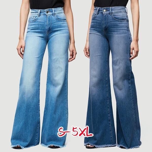 40209e2e3f3075 Plus Size Ladies Sexy High Waisted Denim Flare Jeans Womens Fashion ...