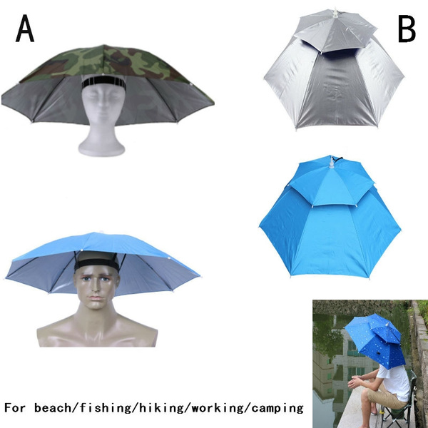 Convenient Adults Kids Umbrella Hat Cap Outdoor Sun Shade Camping Fishing Hiking
