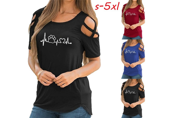 3 Colors Fashion Cotton Shirts Ladies Love Wave Printed Short Cold Shoulder Sleeve Loose Tops & Shirts