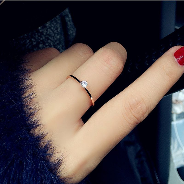 bf4e8e4d018bc 1mm Fashion Simple Diamond Ring Wedding Ring Engagement Ring Women's Ring  Minimalist Jewelry