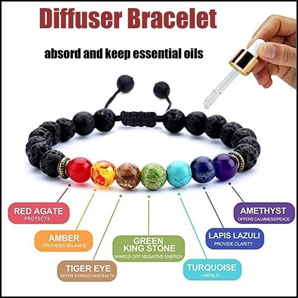 7 Chakras Healing Bracelets For Yoga Lava Rock Essential Oil Diffuser Bangle Men Women Charm Bracelet With Real Stone Elastic Comfort Fit