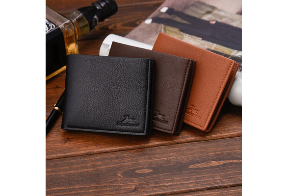 Men Solid Color Vintage Open Lichee Pattern Multi Card Position Wallet