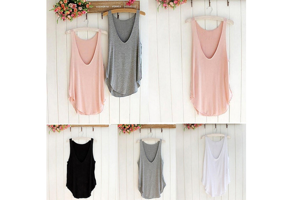 Women Average Size Summer Sleeveless Candy Vest Loose Tank Tops T-shirt
