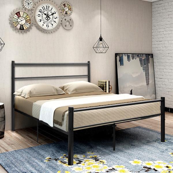 Geek Black Full Size Metal Bed Frame Platform Headboard 10 Legs - 10-geek-furniture-designs