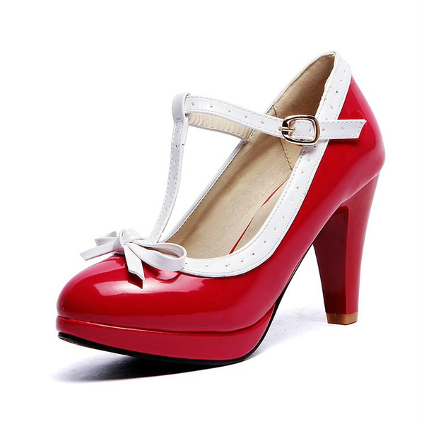 Fashion Womens T-Strap Bowknot High Heel Pumps Sweet Lolita Mary Jane Shoes SIZE