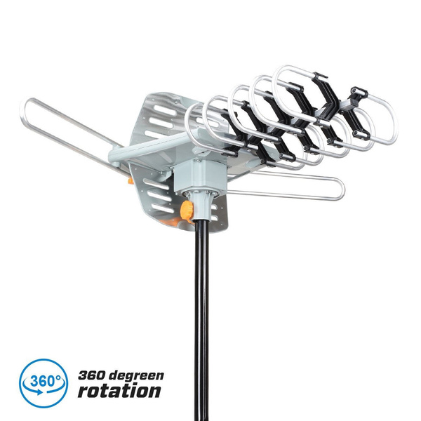 Leadzm HDTV 1080p Outdoor Amplified Antenna 150Miles HD TV Rotor Remote 23dB