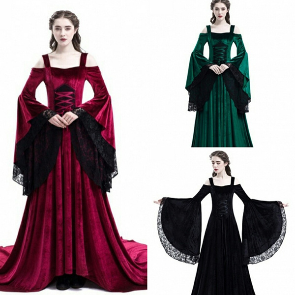 2018 Brand New Gothic Style Women Dress Renaissance Medieval Vintage  Victorian Black Lace Sexy Punk Women Ball Costumes