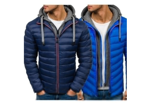 4 Colors Plus Size S-3XL Men's Fashion Autumn and Winter  Hooded Puffer Cotton Coat