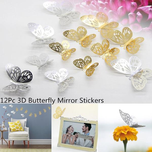 12pc 3d Diy Butterfly Mirror Wall Stickers Home Room Art Decoration Romantic Crafts 3d Diy Papillon Stickers Muraux Decoration De La Maison 3d Diy
