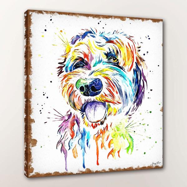 Goldendoodle Dog Print Golden Doodle Labradoodle Pop Art Pet Paintings Dog Doodle Art Goldendoodle Watercolour Doodle Dog Portrait Hd Prints On Canvas Wish