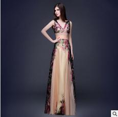 tiefesvausschnittabendkleid, chiffon, brautjungfernkleid, Evening Dress