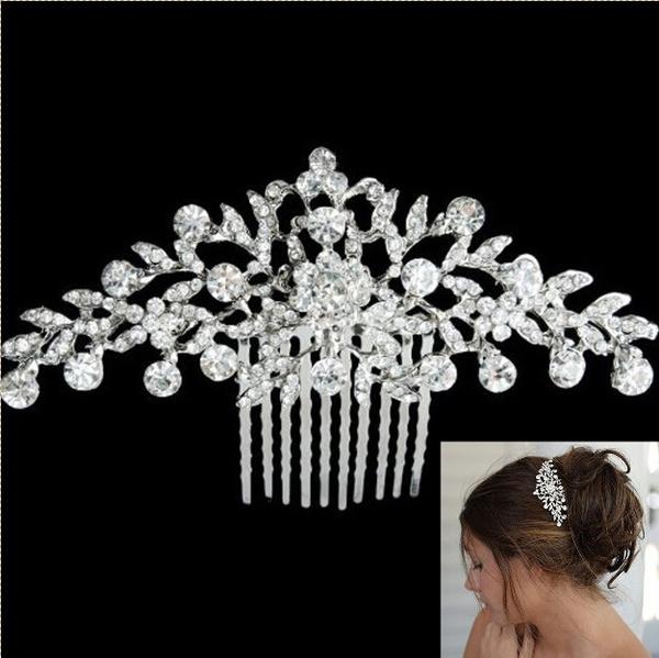 STUNNING BRIDAL WEDDING RHINESTONES PEARLS DIAMANTE HAIR COMB CLIP