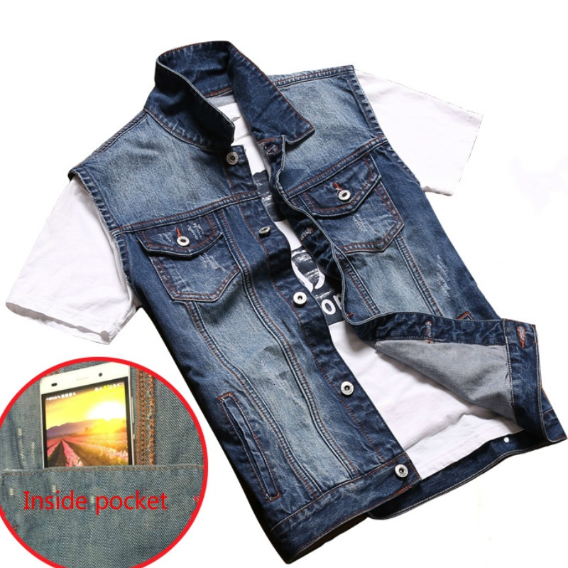 jeans hommes gilet cow boy sans manches d contract motard. Black Bedroom Furniture Sets. Home Design Ideas