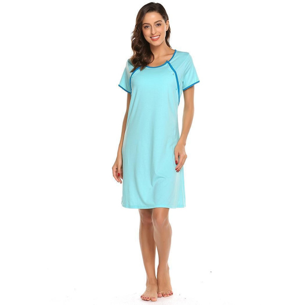 Wish   Women Maternity Dress Nursing Breastfeeding Gown Robe ...