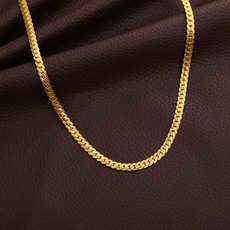 yellow gold, goldplated, Chain Necklace, Men  Necklace