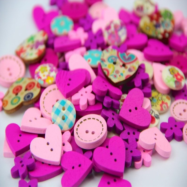 100pcs Sewing  2 Holes Handmade Natural Color DIY Accessories Buttons Wooden