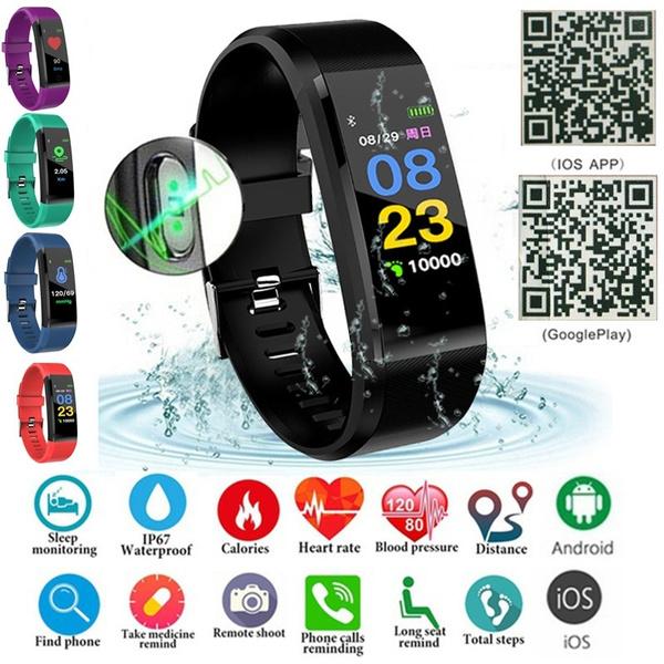 ID115 / ID115 Plus Waterproof Smart Bracelet Bluetooth 4 0 Fitness Tracker  Pedometer Sleep Heart Rate Monitor Remote Camera Touch Screen Smart Watch