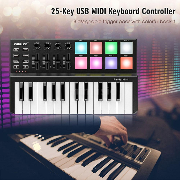 New Upgraded WORLDE Panda MINI 25-Key Ultra-Portable USB MIDI Keyboard  Controller 8 Colorful Backlit Trigger Pads
