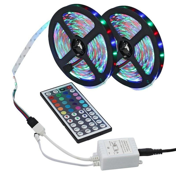 Led Strip , 5 M/10 M 16.4ft 3528 Smd 300 Le Ds Rgb Color Changing Flexible Led Strip Light Kit + 44key Ir Remote Controller For Home Decorative by Wish