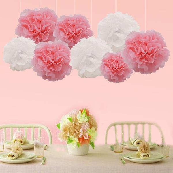 10 Piece 10 20cm Pompon Tissue Paper Pom Poms Flower Balls For Wedding Party Car Decoration Diy Craft Paper Flower Balls