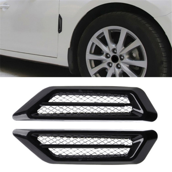 2 Pcs Car Auto Decorative Side Vent Air Flow Fender Intake Stickers Black