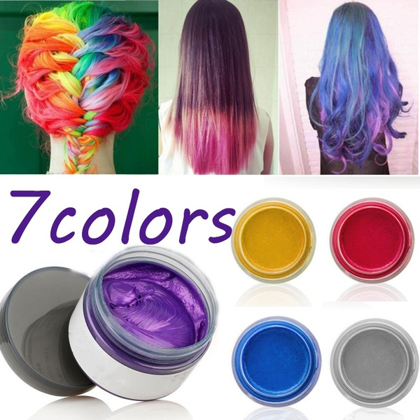 7colors One Time Hair Color Wax Hair Dye Temporary Non Toxic Diy Hair Color Does Not Hair Hurt Purple Green Blue Red Silver Gray Hair Color Cream