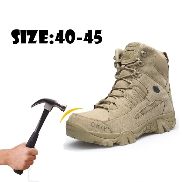 8fdc9d2c991 Men's Military Tactical Boots Waterproof Hiking Combat Boots Army Side Zip  Work Safety Steel toe Boots