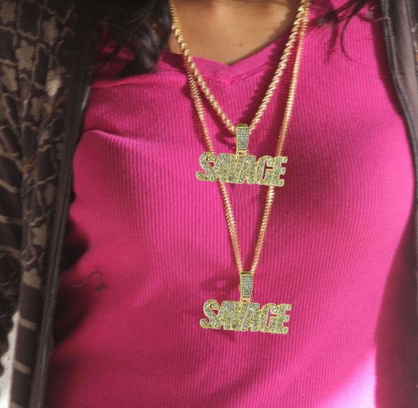 ae4b5731270c5 2 Savage Iced Chain Pendant Hip Hop Chain Gold Tone 24