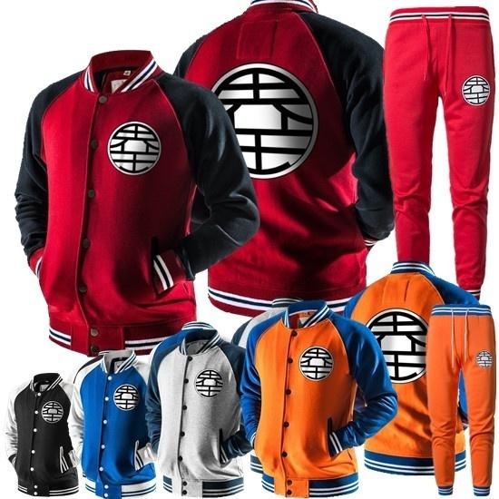 new fashion men casual sport set 2 parts cartoon Dragon Ball Z hoodies  sweatshirts+jogger pants