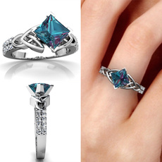 White Gold, DIAMOND, wedding ring, 925 silver rings