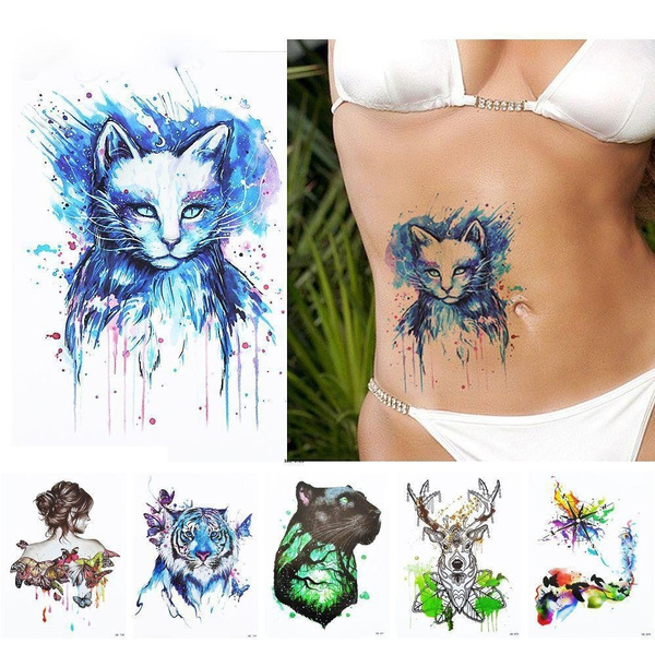 26461b4a9 1x DIY Body Art Temporary Tattoo Colorful Animals Watercolor ...