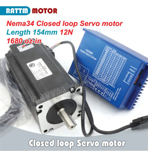 Nema34 12N m Closed Loop Stepper Motor Servo Motor 154mm 6A with Encoder +2  Phase Hybrid HSS86 Servo Driver 70V DC AC Controller CNC Kit for CNC