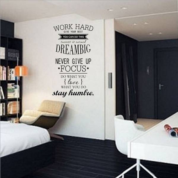 Wish Fashion Wall Decals Work Hard Dream Big Quotes Letters